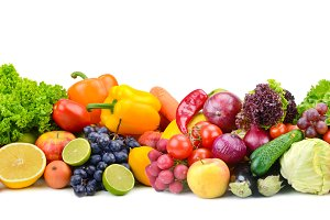 bright vegetables and fruits