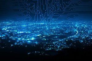 digital circuit line on blue night c
