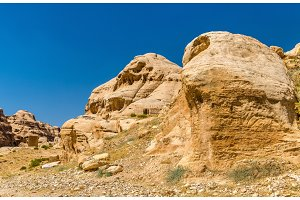 View of ancient tombs at Petra