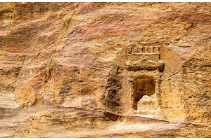 Ancient Nabataean Rock Carvings at the Siq in Petra