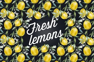 Watercolor lemons patterns