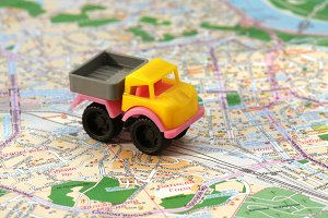 small car on map
