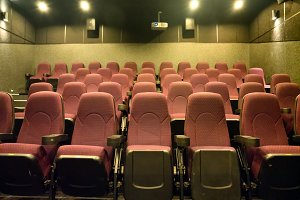 Empty seats in the small theatre