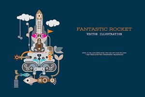 Fantastic Rocket vector illustration