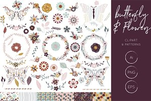 Butterfly & Flowers Clipart Patterns