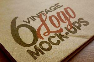 6 Logo Mockups - Retro/Vintage Style