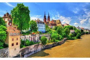 Old town of Basel with the cathedral above the Rhine river