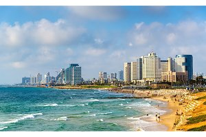 View of Alma Beach on the Mediterranean waterfront in Tel Aviv