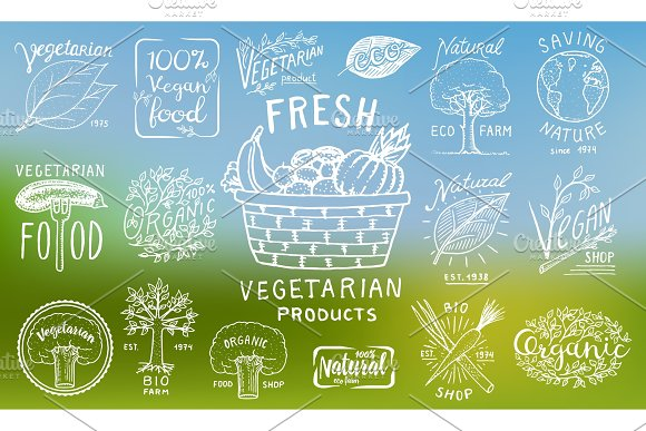 Healthy Organic Food Logos Set Or Labels And Elements For Vegetarian And Farm Green Natural Vegetables Products Vector Illustration Badges Healthy Life Engraved Hand Drawn In Old Sketch