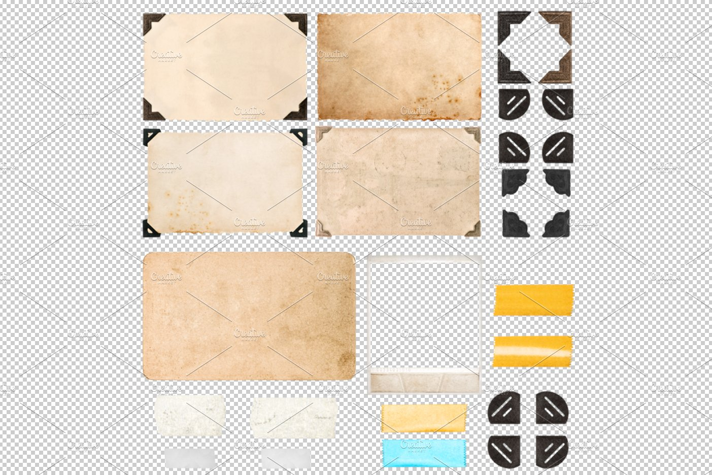 Png photo frame corners tape strips objects creative for Picture frame corners