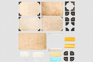 PNG Photo frame corners tape strips