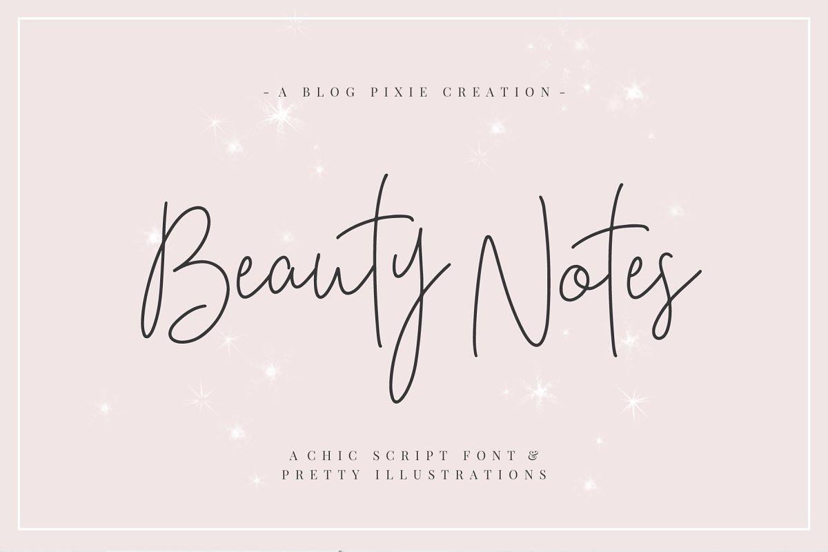 Beauty Notes Script + Illustrations ~ Script Fonts