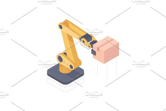 Automated Robot Arm Isometric Vector Illustration