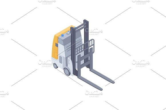 Electric Forklift Isometric Vector Illustration
