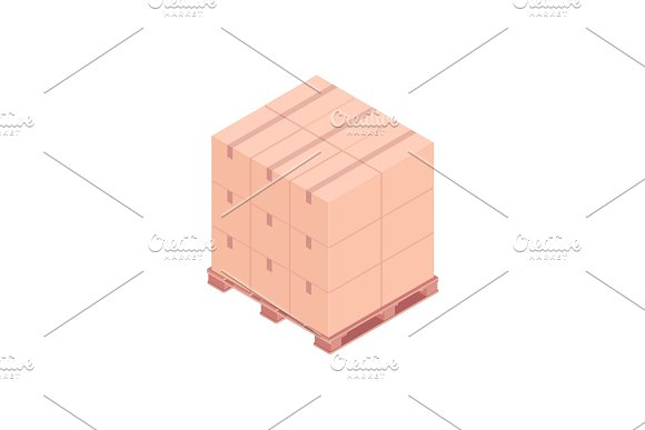 Pallet With Small Boxes Isometric Vector Illustration