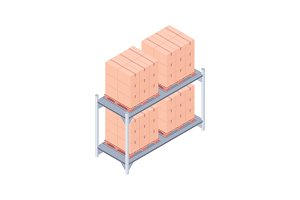 Loaded pallet rack isometric vector illustration