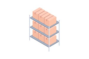 Racks with boxes isometric vector illustration