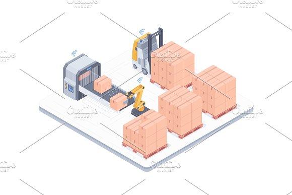 Automated Packing System Isometric Illustration