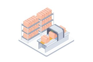 Automated packaging conveyor belt isometric illustration