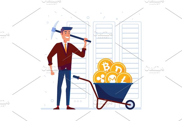 Man With Pickaxe And Barrow Full Of Crypto Coins