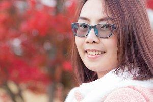 Thai woman travel in japan.