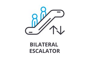 escalator thin line icon, sign, symbol, illustation, linear concept, vector