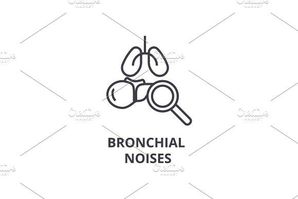 Bronchial Noises Thin Line Icon Sign Symbol Illustation Linear Concept Vector