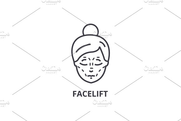 Facelift Thin Line Icon Sign Symbol Illustation Linear Concept Vector