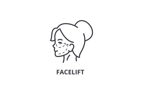 face lifting thin line icon, sign…