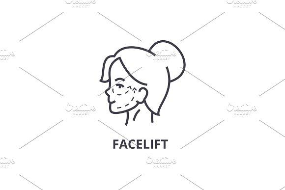 Face Lifting Thin Line Icon Sign Symbol Illustation Linear Concept Vector