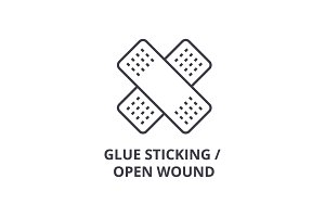 glue sticking, open wound thin line icon, sign, symbol, illustation, linear concept, vector