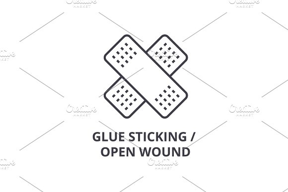 Glue Sticking Open Wound Thin Line Icon Sign Symbol Illustation Linear Concept Vector