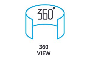 360 view thin line icon, sign, symbol, illustation, linear concept, vector