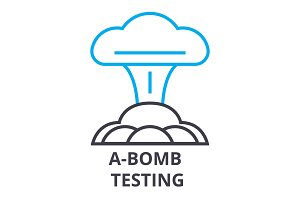 a bomb testing thin line icon, sign, symbol, illustation, linear concept, vector