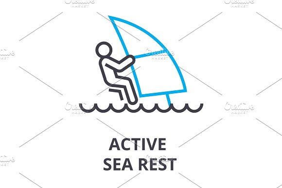 Active Sea Rest Thin Line Icon Sign Symbol Illustation Linear Concept Vector