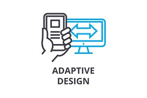 adaptive design thin line icon, sign, symbol, illustation, linear concept, vector