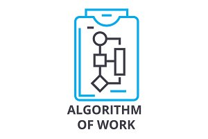 algorithm of work thin line icon, sign, symbol, illustation, linear concept, vector