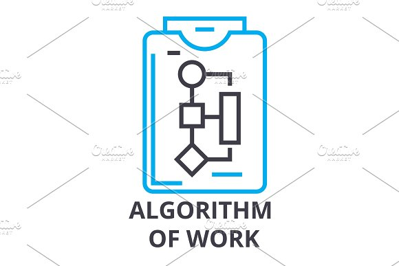 Algorithm Of Work Thin Line Icon Sign Symbol Illustation Linear Concept Vector