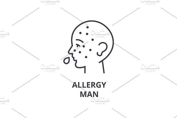 Allergy Man Thin Line Icon Sign Symbol Illustation Linear Concept Vector