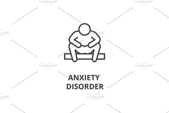 Anxiety Disorder Thin Line Icon Sign Symbol Illustation Linear Concept Vector