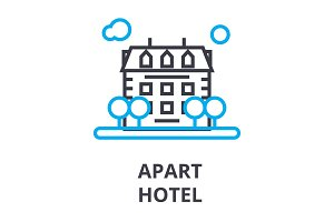 apart hotel thin line icon, sign, symbol, illustation, linear concept, vector