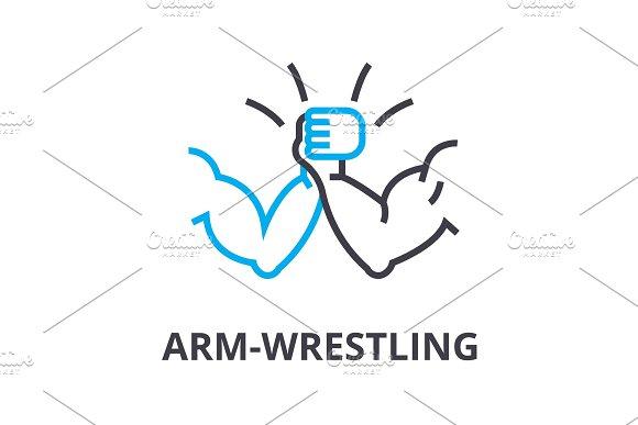 Arm Wrestling Thin Line Icon Sign Symbol Illustation Linear Concept Vector