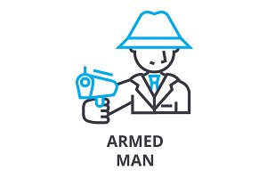 armed man thin line icon, sign, symbol, illustation, linear concept, vector