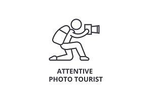 attentive photo tourist thin line icon, sign, symbol, illustation, linear concept, vector