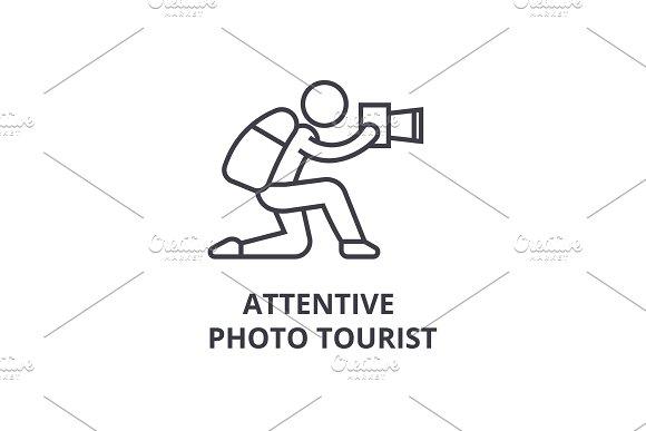 Attentive Photo Tourist Thin Line Icon Sign Symbol Illustation Linear Concept Vector