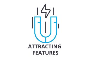 attracting features thin line icon, sign, symbol, illustation, linear concept, vector