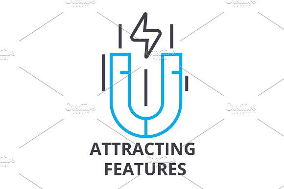Attracting Features Thin Line Icon Sign Symbol Illustation Linear Concept Vector