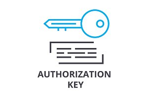 authorization key thin line icon, sign, symbol, illustation, linear concept, vector