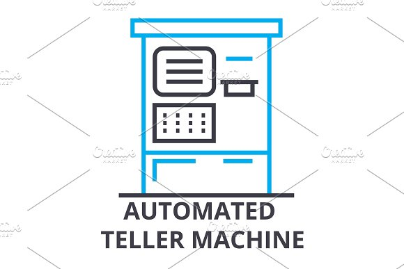 Automated Teller Machine Thin Line Icon Sign Symbol Illustation Linear Concept Vector