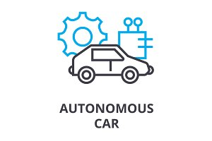 autonomous car thin line icon, sign, symbol, illustation, linear concept, vector